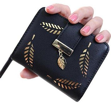 Womens Wallet with Gold Leaf Motif Zip Around Wallet Clutch Small Purse with ID Window Card Compartments Coin Pockets Bill Sections