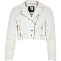 River Island Girls cream leather-look cropped biker jacket