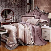 noble mandala style pattern pale mauve duvet cover set lace border silk cotton jacquard Queen/King 4/6pcs bedding sets