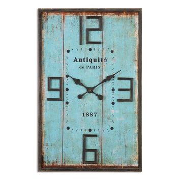 Antiquite Distressed Wall Clock By Uttermost