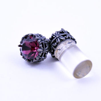 0g 2g 4g 6g 8g 10g 12g Silver filigree Amethyst Plugs Made With Swarovski Elements Wedding Bridal Plugs Gauges Tunnels Bridesmaid