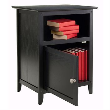 Black Shaker Style End Table Nighstand with Shelf
