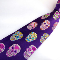 Sugar Skull Tie in Purple - VaVa Exclusive - Silk Mens Sugar Skull Tattoo Necktie - Day of the Dead - Dia De Los Muertos - Halloween Wedding
