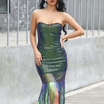 Fringe Trim Sequin Bodycon Tube Dress