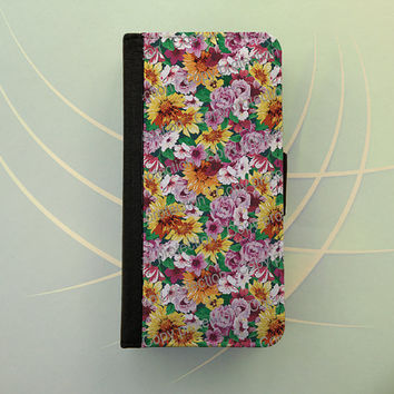 iPhone 4 5 flip case Samsung Galaxy S3 S4 leather wallet, iPhone 5 flip case, book style, Samsung iPhone 5 - Flowerbed floral pattern