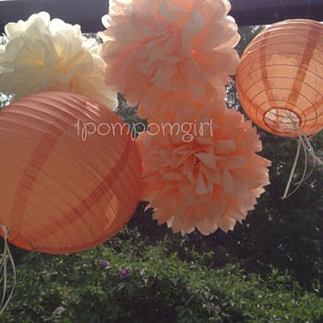 Peaches and Cream - 5 Tissue Paper Poms/Decorated Paper Lanterns// Baby Shower, Birthday, Wedding, Bridal Shower, Nursery Decor