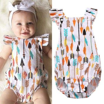 US Seller Newborn Baby Girl Feather Arrow Romper Bodysuit Outfit Sunsuit Clothes