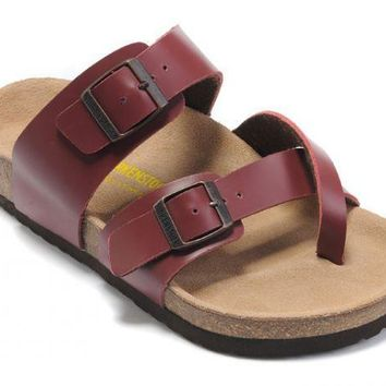 Birkenstock Mayari Sandals Leather Dark-red - Ready Stock