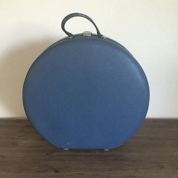 Vintage American Tourister Round Suitcase; Blue American Tourister Hat Box; Vintage Luggage; Blue Train Case; 1960s Suitcase
