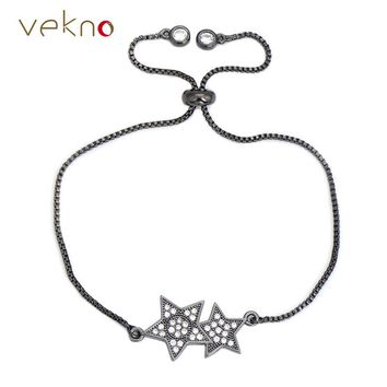 VEKNO Adjustable Copper Chain Double Star Bracelets Sparkling CZ Crystal Chic Style Charm Tennis Bracelet Femme Pulseira