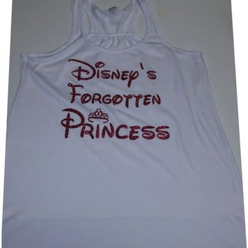 Disneys Forgotten Princess Flowy RacerBack Women Tank Top SUPER Sparkle Glitter Wont wash of at all , Shinny Cute with Crown youwill love it
