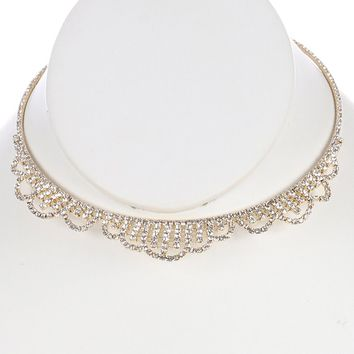 Clear Layered Rhinestone Coil Wire Choker Necklace