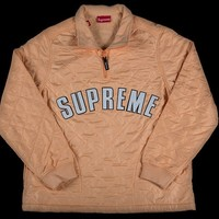 SUPREME|ARC LOGO QUILTED HALF ZIP PULLOVER|S/S 2017|PEACH