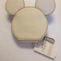 Disney X Coach Mickey Ear Zip Coin Purse Chalk New with Tags