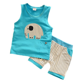 Kids Clothes Baby Boys Summer Clothes Children Clothing Sets Elephant Print Sleeveless Tops + Pants Sport Set Toddler Boy Wear