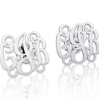 Monogram earrings Personalized Name Silver Earrings, letter earrings initial earring, nameplate earring