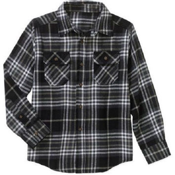 Faded Glory Boys' Long Sleeve Flannel Shirt, XS 4-5, Black Soot