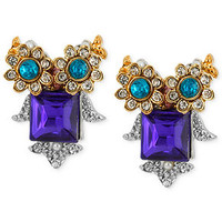 Betsey Johnson Gold-Tone Crystal and Bead Owl Stud Earrings
