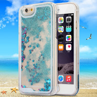 Creative 4.7 Inch for iphone 6 Case  Glitter Stars Liquid Flowing Brilliant Back Cover Case
