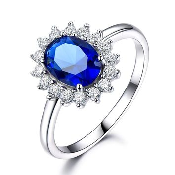Created Blue Sapphire 6*8mm Princess Diana Rings Genuine 925 Sterling Silver Engagement Rings For Women Wedding Jewelry
