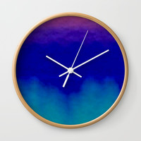 Midnight Blue Pink and Teal Abstract Art Wall Clock by Sheila Wenzel