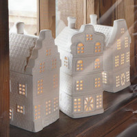 Three Porcelain Christmas Tealight Houses