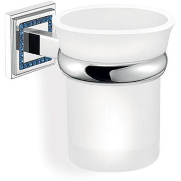 SCBA Angel Wall Frosted Glass Swarovski Toothbrush Toothpaste Holder Tumbler