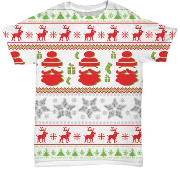Ugly Holiday Sweater T-Shirt, Funny Holiday Unisex Party Tee, Gifts for Best Friends, All-Over Print Shirts