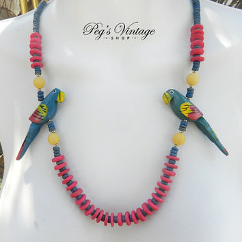 Vintage Colorful Bird/Parrot Wood Bead Bib Necklace, Hand Painted Wood Bead, Summer Jewelry