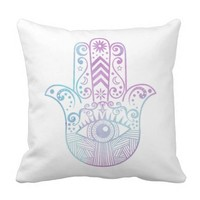 Hamsa Hand Purple and Blue Watercolor Outdoor Pillow