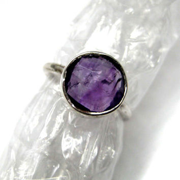 925 Sterling Silver Amethyst Ring , Fine Quality Chekker cut Faceted Round Shape Natural gem stone Hand made Ring