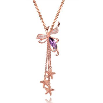 Magical Blooming Lotus Triple Lucky Sea Stars Amulet Gold-Tone Purple White Crystal Necklace