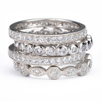 SusanB.Designs Simulated Diamond Stackable Bands Set of 4 Rings Sterling Silver