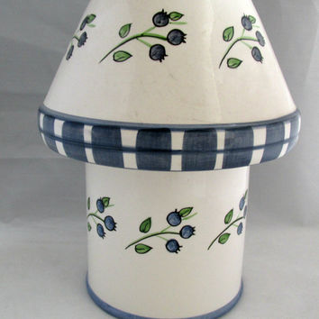 Country Style Pillar Jar Candle Holder Lamp Lantern Shade Blue Floral Patchwork