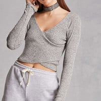 Marled Knit Surplice Crop Top