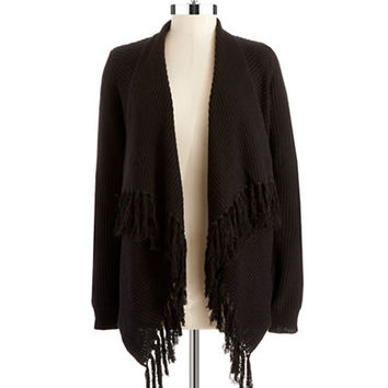 Vince Camuto Draped Fringed Cardigan