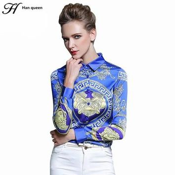 Queen Women's Blouses Loose Elegant Long Sleeve Chiffon Blouse Tops Casual Vintage Printing Shirt Women Clothing Blusas