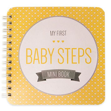 "NEW! Baby First Year Memory Mini Book. Yellow Sun ""Modernista""(TM), Poly Cover Hand Made. Intimate, travel size memory keeper record book and journal for Boy or Girl. 5x5"" - Best Shower Gift!"