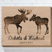 Moose Couple, Wedding Wood Sign, Personalized Wedding Gift, Wedding Gifts For Couple, Bridal Shower Gift, Engagement Gift, Anniversary Gift