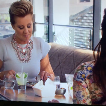 "Custom made ""Chyka's necklace"" Real Housewives of Melbourne softly spoken neutral tone painted rhinestone necklace"