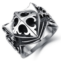 Domineering Personality Man Ring Rock Shield