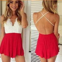 Lace Cross-Back Romper