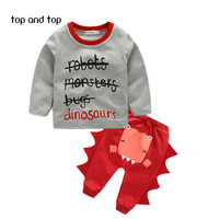 2016 NEW Newborn Baby Girl boy clothing Autumn Infant Child letters cartoon dinosaur shirt casual pants suit kids set