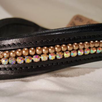 Bling English Curved Cob Browband Bronze Pearl and Iridescent White Rhinestone