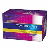 Tampax Radiant Compak Tampons with Plastic Applicator Unscented,Regular, 36 ea | Walgreens