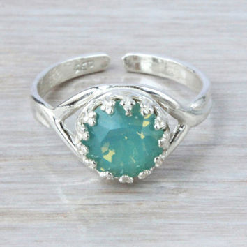 Pacific Opal ring sterling silver ring adjustable size 6-8, green mint color Swarovski crystal, Valentines Day gift, October birthstone