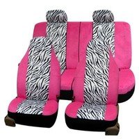 FH-FB121114 Zebra Prints Car Seat Covers, Airbag ready and Split Bench, Pink / White color