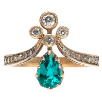 Trumpet & Horn Emerald Diamond Tiara Engagement Ring