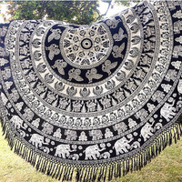NEW Indian White Black Tassel Round Circle Roundie Mandala Elephant Tapestry Wall Hanging Throw Beach Picnic Blanket Bed Sheet <>UK SELLER