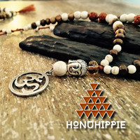 Buddah Om Mala necklace, boho yoga meditation jewelry